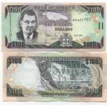 Los billetes de banco Jamaica Pick número 84 - 100 Dollar