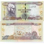 Sammlung von Banknoten Jamaika Pick Nummer 85 - 500 Dollar