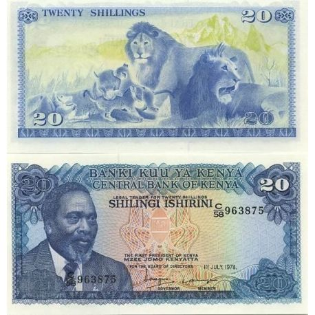 Billets de collection Billet de collection Kenya Pk N° 17 - 20 Shilling Billets du Kenya 8,00 €