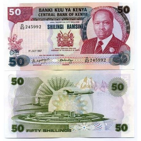 Billets de collection Billet de banque Kenya Pk N° 22 - 50 Shilling Billets du Kenya 19,00 €