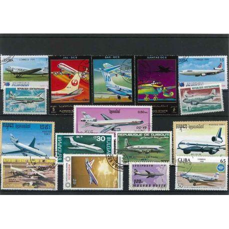 Flugzeug Dc: 15 verschiedene Briefmarken