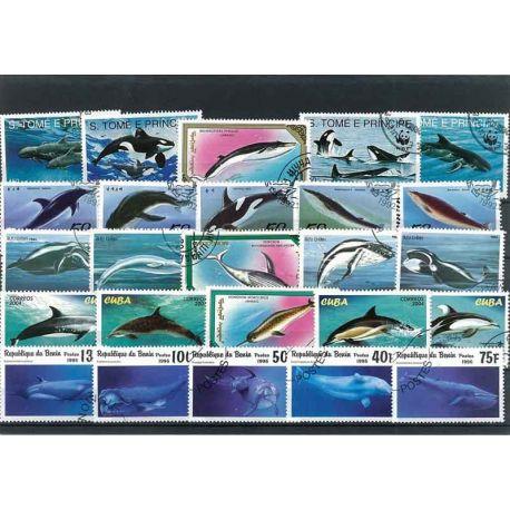 Wale: 25 verschiedene Briefmarken