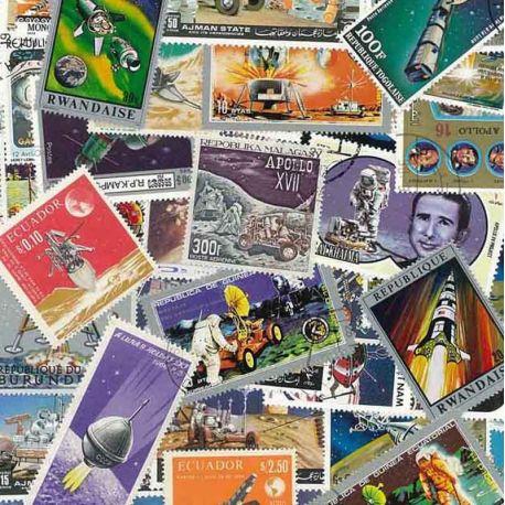 Collection de timbres Lune oblitérés
