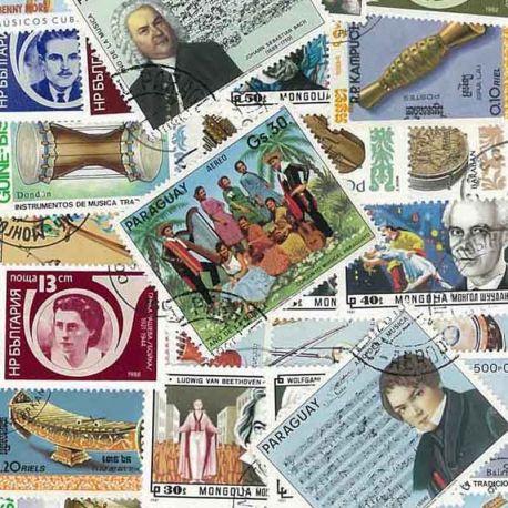 Musikinstrumente: 25 verschiedene Briefmarken
