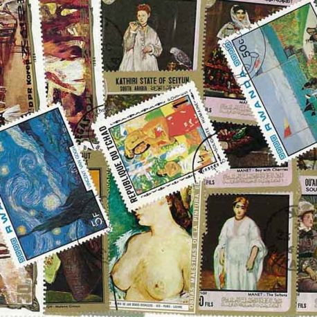 Peintres Impressionnistes : 50 timbres différents