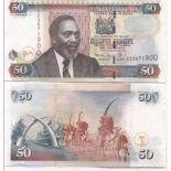 Los billetes de banco Kenia Pick número 47 - 50 Shilling