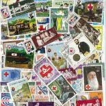 Rote Sammlung gestempelter Briefmarken Kreuz