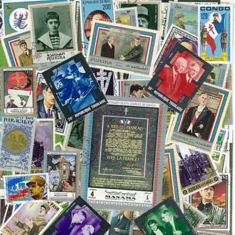 De Gaulle: 100 Briefmarken verschiedene