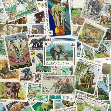 Collection de timbres Elephants oblitérés
