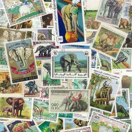 Elefanten: 100 verschiedene Briefmarken