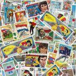 Collezione di francobolli bandiere cancellate