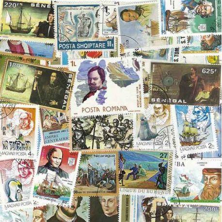 Collection de timbres Explorateurs oblitérés