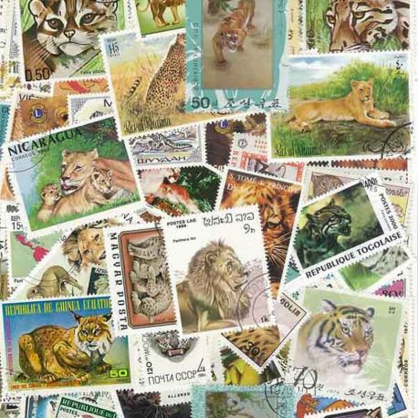 Collection de timbres Felins oblitérés