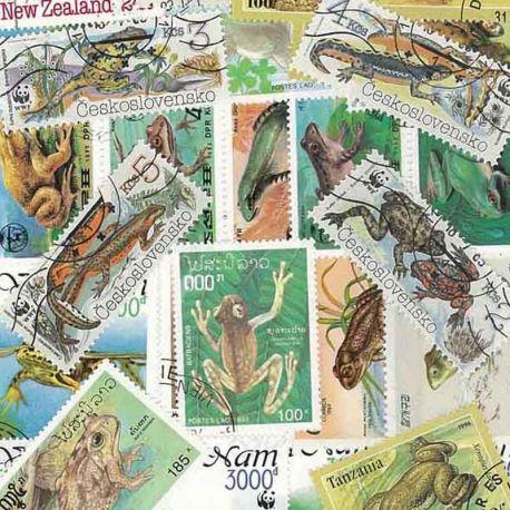 Frösche: 25 verschiedene Briefmarken
