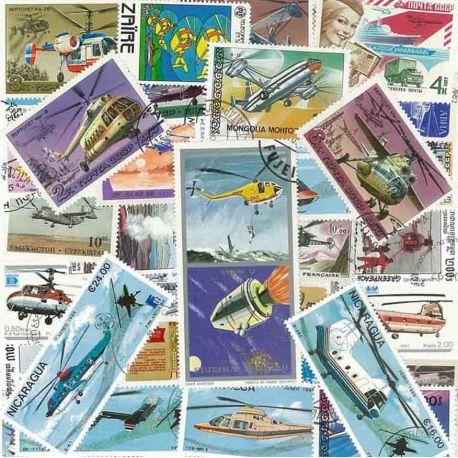 Hubschrauber: 25 verschiedene Briefmarken