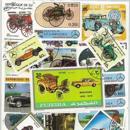 Voitures Mercedes : 25 timbres différents