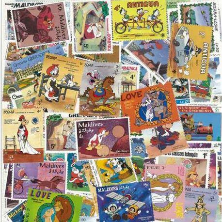 Collection de timbres Walt Disney oblitérés