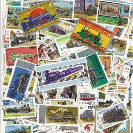 Collection de timbres Trains oblitérés