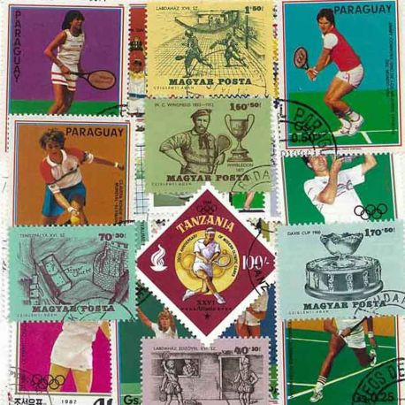 Tennis: 25 verschiedene Briefmarken