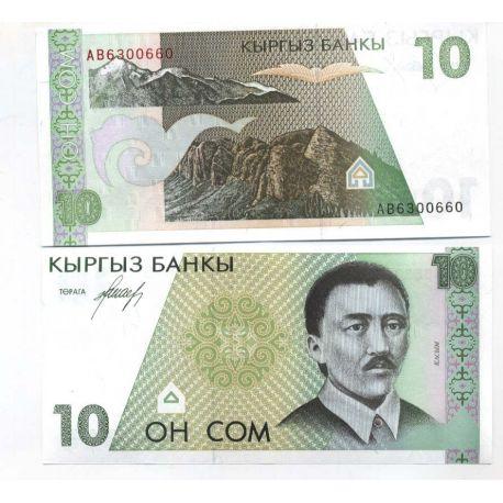 Billet de banque Kirghizstan Pk N° 9 - 10 Som