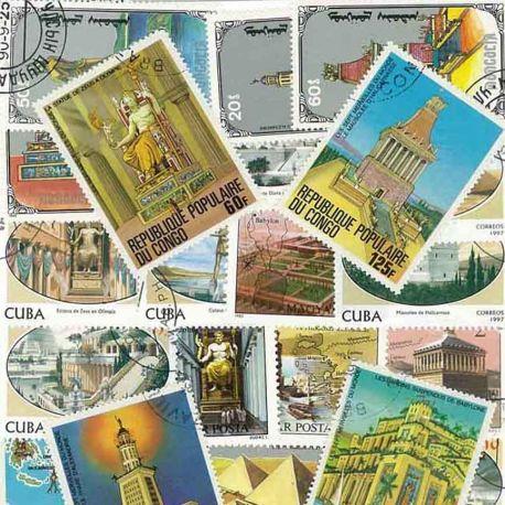 Collection de timbres Sept Merveilles oblitérés