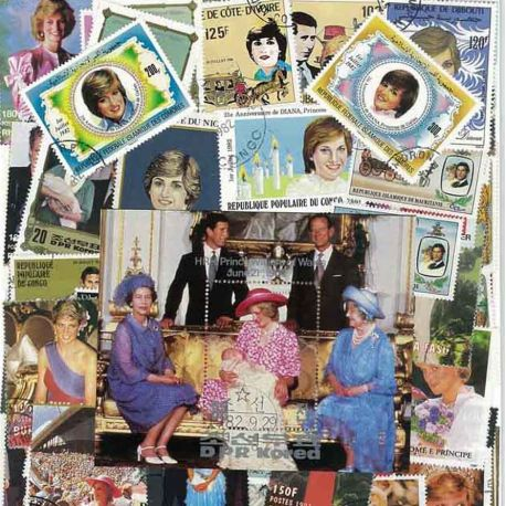 Lady Diana: 100 different stamps