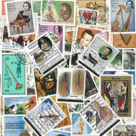 Collection de timbres Musiciens oblitérés