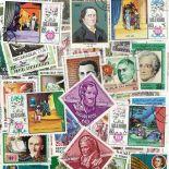 Sammlung gestempelter Briefmarken Literatur