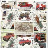Gestempelte Briefmarkenensammlung Feuerwehrmänner