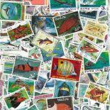 Collezione di francobolli pesci cancellati