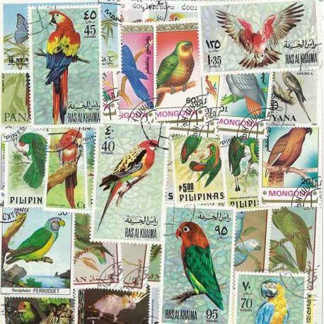 Collection de timbres Perroquets oblitérés