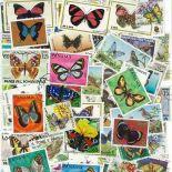 Collezione di francobolli farfalle cancellate
