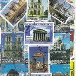 Collezione di francobolli monumenti francesi cancellati
