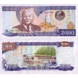 Sammlung von Banknoten Laos Pick Nummer 33 - 2000 Kip
