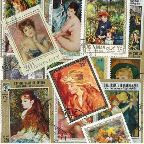 Collection de timbres Renoir oblitérés
