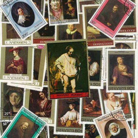 Rembrandt: 25 verschiedene Briefmarken