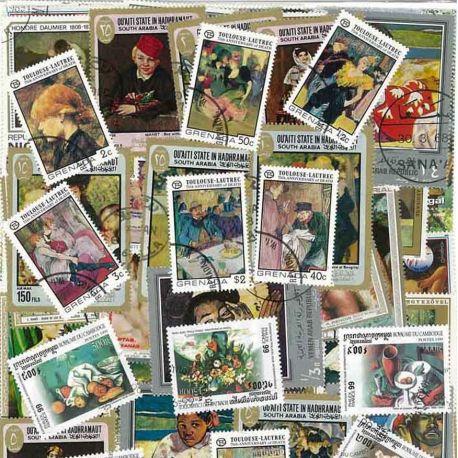 Französischer Maler: 100 verschiedene Briefmarken