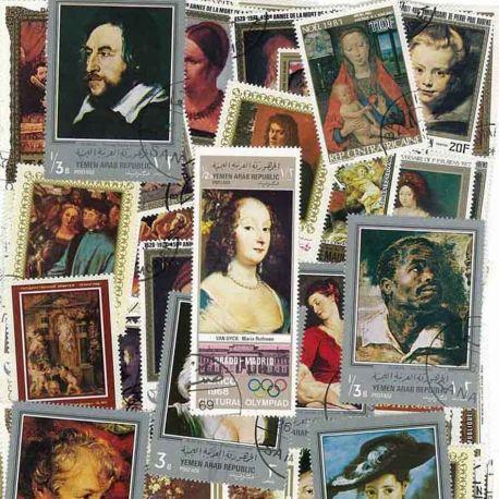 Peintres Flamands : 100 timbres différents