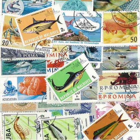 Fischerei: 25 verschiedene Briefmarken