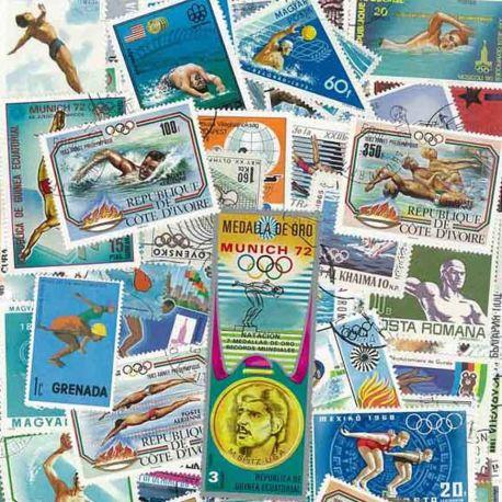 Schwimmen: 100 verschiedene Briefmarken