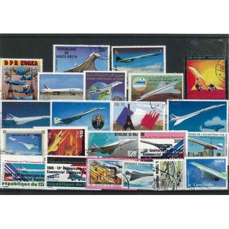 Collection de timbres Avions Concorde oblitérés