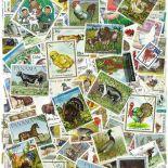 Collezione di francobolli animali dell'azienda agricola cancellati