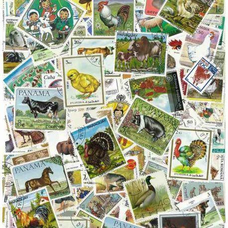 Tiere auf dem Bauernhof: 100 verschiedene Briefmarken