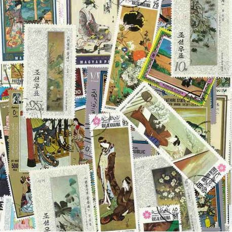 Japanese Art: 100 different stamps