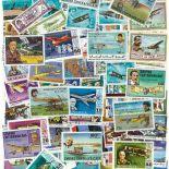 Gestempelte Briefmarkenensammlung Flugzeuge