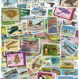 Collezione di francobolli aerei vecchi cancellati