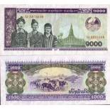 Precioso de billetes Laos Pick número 32 - 1000 Kip