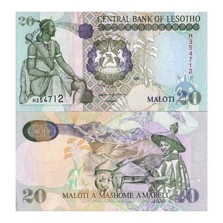Billets de collection Billets de banque Lesotho Pk N° 16 - 20 Maloti Billets du Lesotho 8,00 €
