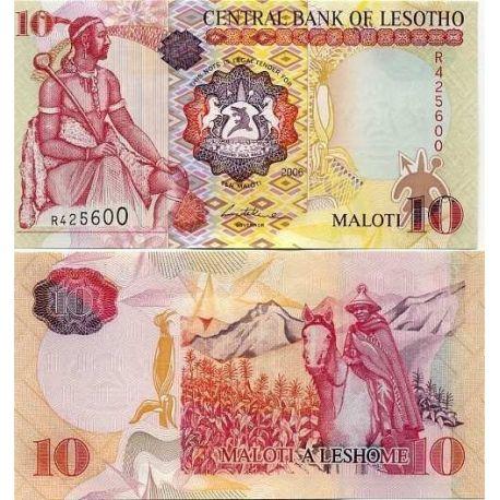 Billets de collection Billets banque Lesotho Pk N° 21 - 10 Maloti Billets du Lesotho 6,00 €