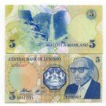 Banknoten Sammlung Lesotho Pick Nummer 10 - 5 Maloti